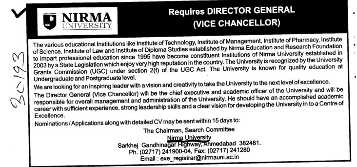 Director General (Vice Chancellor) (Nirma University)