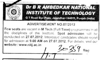 Few seats vacant in MTech (Dr BR Ambedkar National Institute of Technology (NIT))