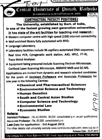 Contractual Faculty Positions (Central University of Punjab)