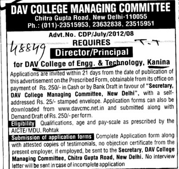 Director and Principal (DAV College Managing Committee)