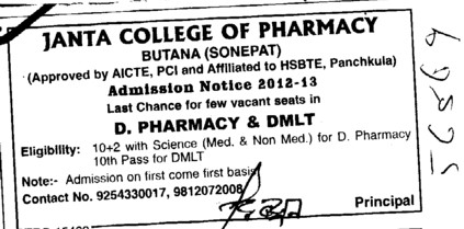 D Pharmacy and DMLT Courses etc (Janta College of Pharmacy Butana)