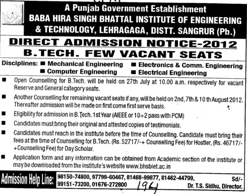 BTech Course 2012 (Baba Hira Singh Bhattal Institute of Engineering and Technology (BHSBIET))