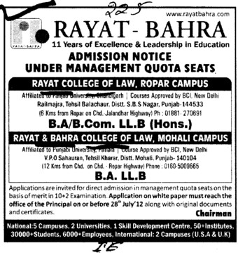 BA, BCom and LLB Courses etc (Rayat and Bahra College of Law)