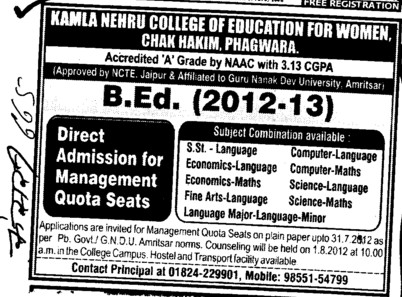 Management quota seats in B Ed (Kamla Nehru College of Education For Women)