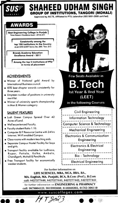 Btech Course through LEET (SUS Group of Institutions)