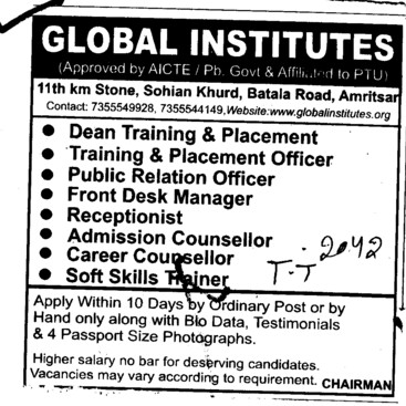 Receptionlist, Admission Counsellor and TNP Officer etc (Global Institutes Group)