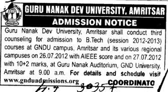 BTech Course 2012 (Guru Nanak Dev University (GNDU))