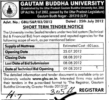 Technical Bid and Financial Bid (Gautam Buddha University (GBU))
