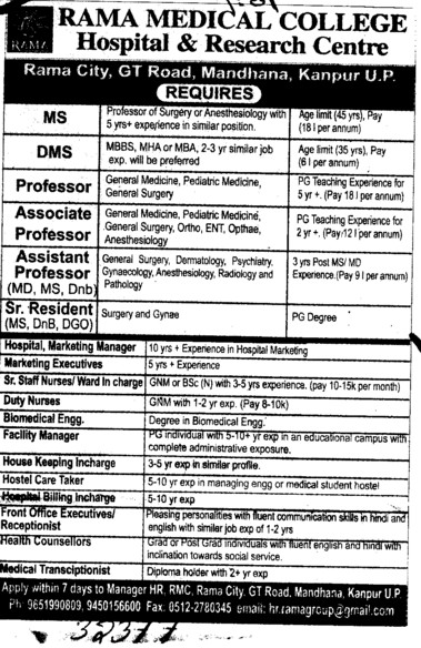 Professor, Senior Residents, asstt Professor and Associate Professor etc (Rama Medical College Hospital and Research Centre)