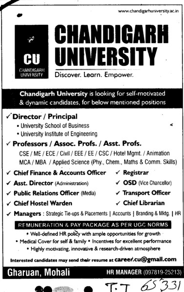 Director, Principal and Chief Librarian etc (Chandigarh University)