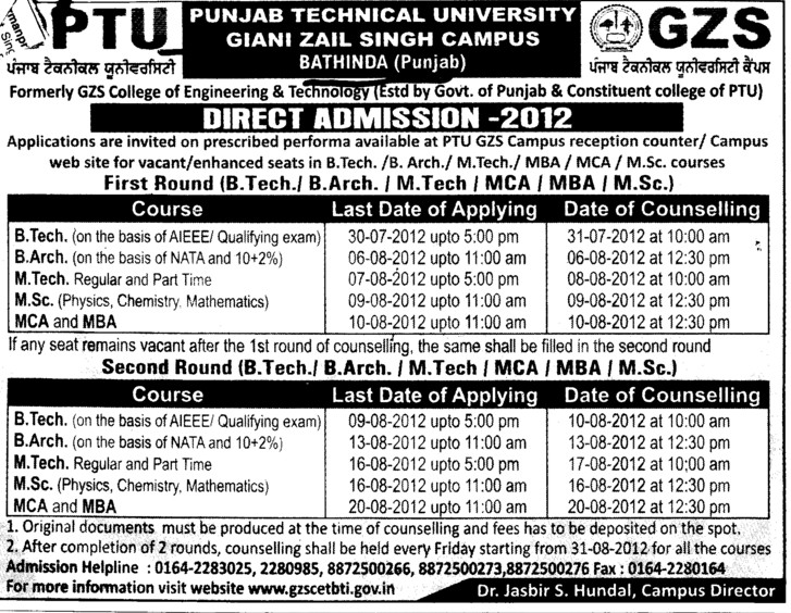 BTech, MSc, MBA and B Arch Courses etc (Giani Zail Singh College Punjab Technical University (GZS PTU) Campus)