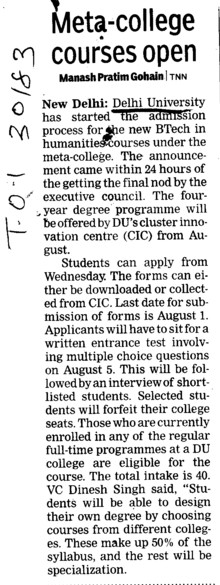 Meta College Courses Open (Delhi University)