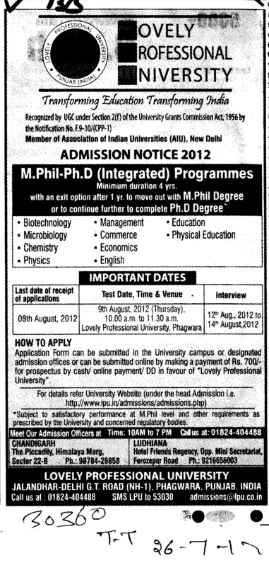 M Phil and PhD Programmes etc (Lovely Professional University LPU)