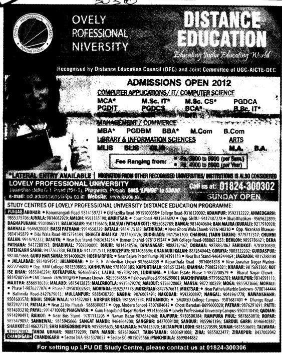 PGDCS, PGDIT and MLIS Courses etc (Lovely Professional University LPU)