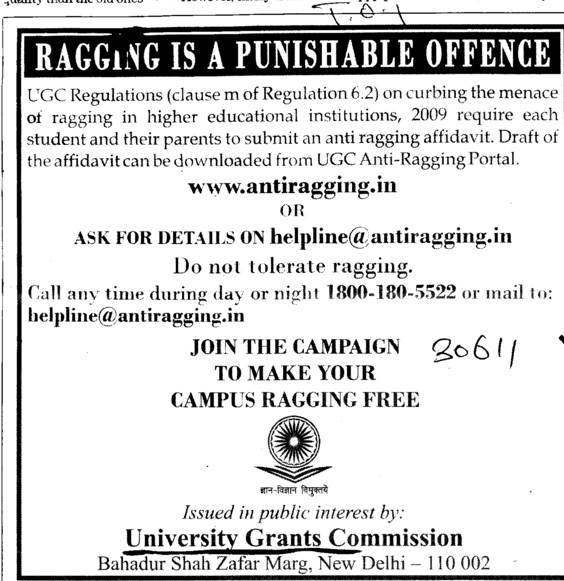 Ragging is a Punishable Offence (University Grants Commission (UGC))