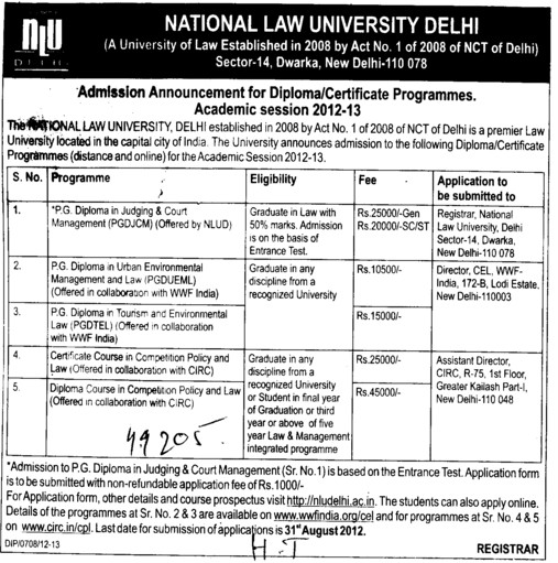 PGDJCM and PGDTEL Courses etc (National Law University)