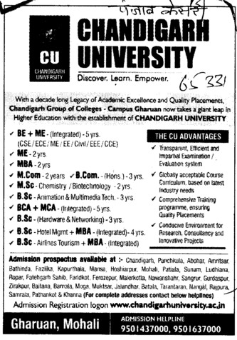 BE, ME, MBA, MSc and BCom Courses etc (Chandigarh University)