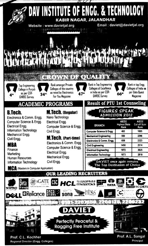 BTech, Mtech and MBA Courses etc (DAV Institute of Engineering and Technology DAVIET)