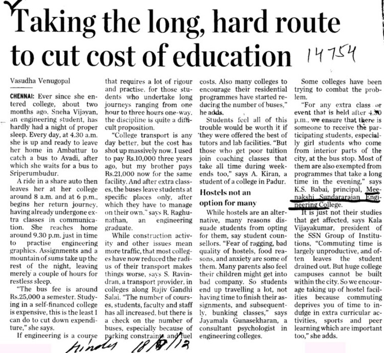 Taking the long, hard route to cut cost of education (Meenakshi Sundararajan Engineering College)