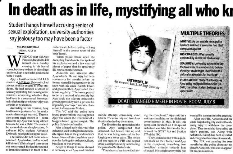 Hanged himself in Hostel Room (Awadhesh Pratap Singh (APS) University)