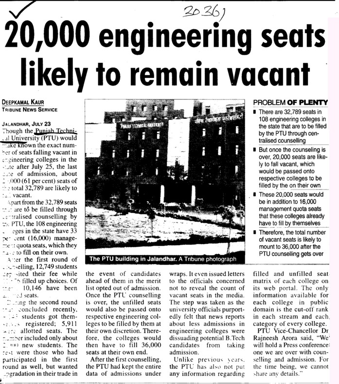 20,000 engg seats likely to remain vacant (Punjab Technical University PTU)
