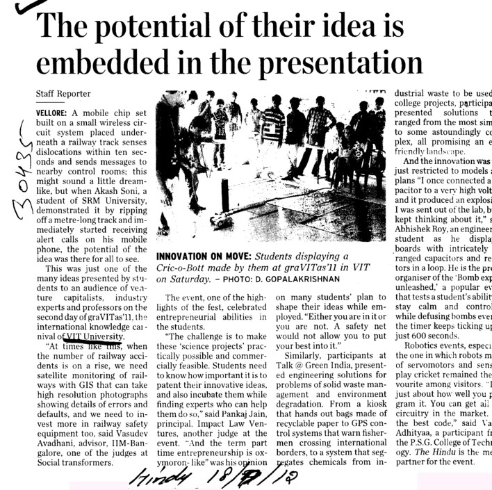 The potential of their idea is embedded in the presentation (VIT University)