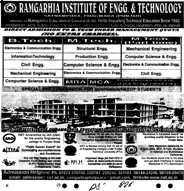 MBA and MCA Courses (Ramgarhia Institute of Engineering and Technology RIET)