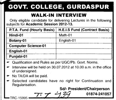 Lecturers in Botany, English and Punjabi etc (Government College)