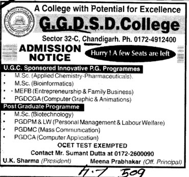 MSc and PGDCA Courses etc (GGDSD College)