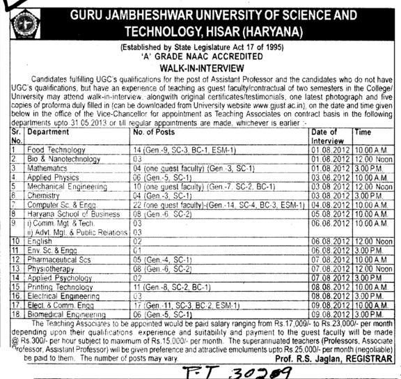 Asstt Professor on regular basis (Guru Jambheshwar University of Science and Technology (GJUST))