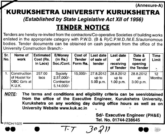 Const of Hostel for OBC girls (Kurukshetra University)