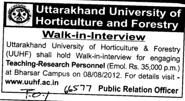 Teaching Research Personnel (Uttarakhand University of Horticulture and Forestry UUHF)