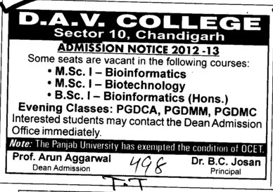MSc and BSc in Bioinformatics (DAV College Sector 10)