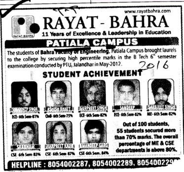 Students Achievement (Rayat and Bahra Group)