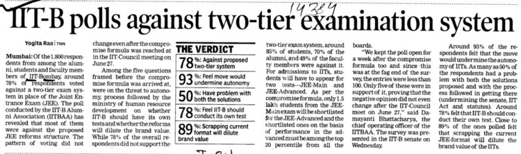 IIT B polls against two tier examination system (Indian Institute of Technology (IITB))