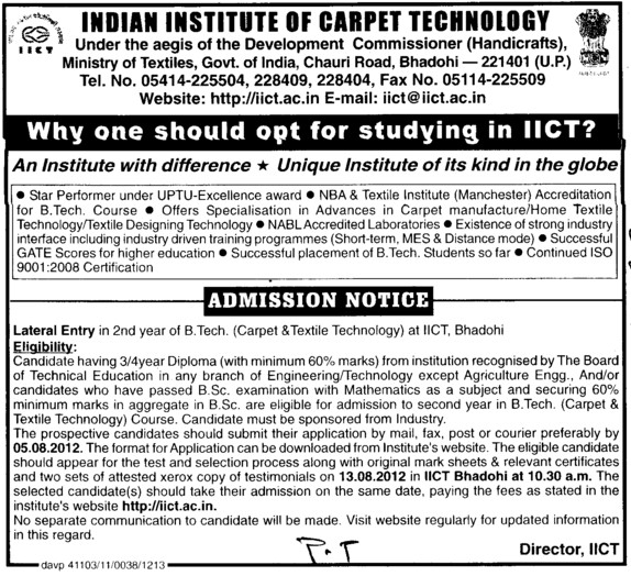 Btech Course through LEET (Indian Institute of Carpet Technology)