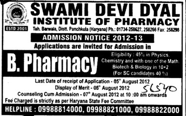 B Pharmacy Course (Swami Devi Dyal Institute of Pharmacy)
