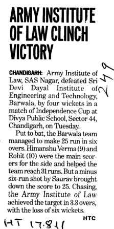 Army Institute of Law Clinch victory (Army Institute of Law)