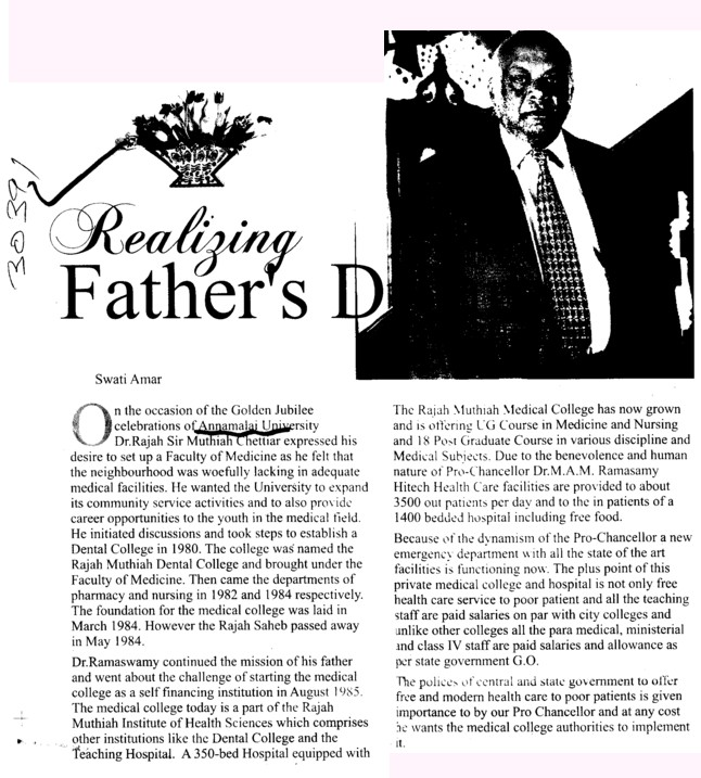 Realizing Fathers Day (Annamalai University)