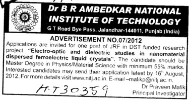 JRF in DST funded (Dr BR Ambedkar National Institute of Technology (NIT))