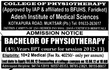 Bachelor of Physiotherapy (Adesh College of Physiotherapy)