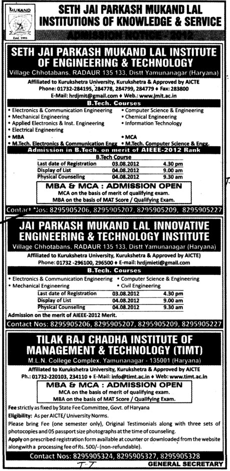 Btech, MBA and MCA Courses etc (Seth Jai Parkash Mukand Lal Institute of Engineering and Technology (JMIT))