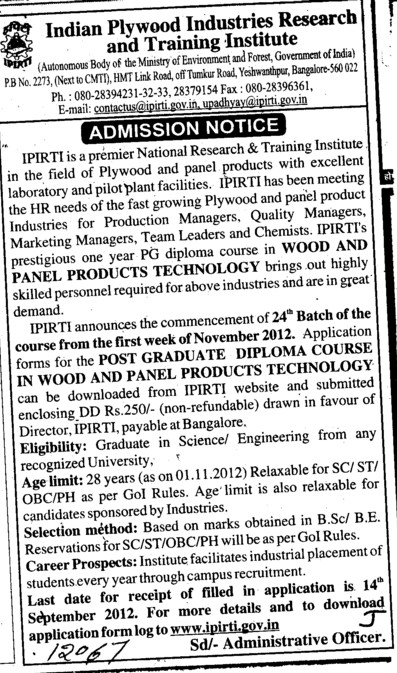 Diploma course in Wood and Panel Products (Indian Plywood Industries Research and Training Institute (IPIRTI))