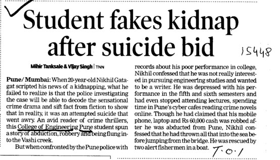 Student fakes kidnap after suicide bis (Government College of Engineering (COEP))