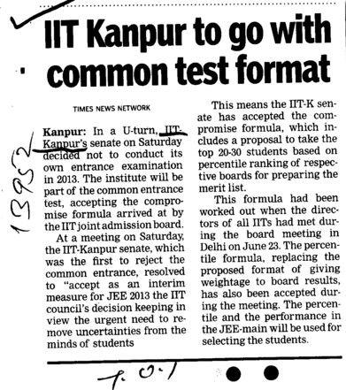 IIT Kanpur to go with common test format (Indian Institute of Technology (IITK))