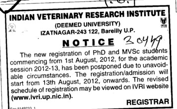 Registration of PhD and MVSc Students (Indian Veterinary Research Institute IVRI)