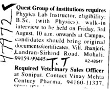 Lab Instructor (Quest Group of Institutions)