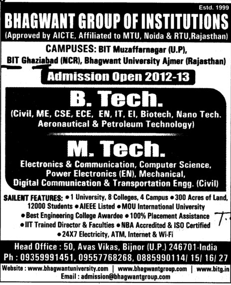 Btech and Mtech Courses (Bhagwant Institute of Technology)