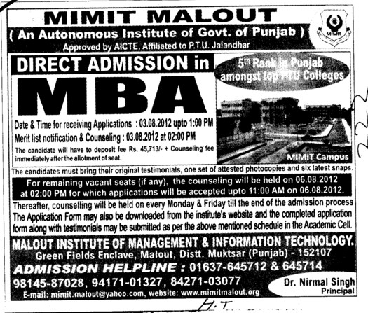 MBA Course 2012 (Malout Institute of Management and Information Technology MIMIT)