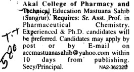 Asstt Professor in Pharmaceutical Chemistry (Akal College of Pharmacy and Technical Education)